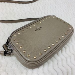 Coach Gray Lacquer Rivets Pouch Crossbody